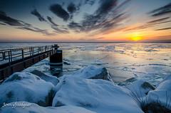 Sunrise from Discovery World. (jonnyfixedgear) Tags: snow ice sunrise nikon lakemichigan milwaukee artmuseum mam discoveryworld d7000 afsdxnikkor18140mmf3556gedvr