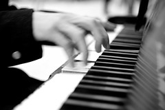 Hammering out a tune (the_anachronist) Tags: bw music black monochrome station keys piano jazz