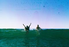 (DawnChapman) Tags: ocean friends sea newzealand summer film beach analog swim 35mm fuji wave fujifilm analogue superia200 soakedfilm filmsoak