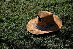 Grass Cuttin' Hat (jogiporche) Tags: shadow grass worn strawhat