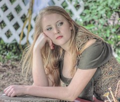 A Little Stumped (clarkcg photography) Tags: portrait woman green female pose photography bored thoughts stump blonde daydream pondering stumped sidetracked