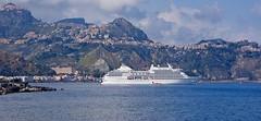 Giardini Naxos cruise terminal (somabiswas) Tags: cruise sea italy mountains landscape mediterranean ship terminal sicily giardininaxos