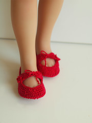 Bordo red Crochet Shoes for doll Effner 13 Little Darling (Maria Kłopotowska) Tags: shoes doll little crochet 13 darling slippers littledarling shoesdoll diannaeffner
