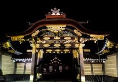 Ninomaru-goten Karamon (Douguerreotype) Tags: door castle japan architecture night buildings dark gold kyoto gate
