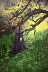 Ewa (lucrecia lee) Tags: shadow woman colour reflection tree green girl beautiful beauty grass mystery vintage glamour pretty wind gorgeous victorian longhair retro colourful gown graceful windblown stylish glamorous superimposed wavyhair