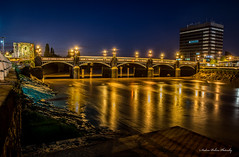 Newport Town Bridge.light reflections on the river. (andyp178) Tags: old longexposure bridge architecture night reflections river lights newport usk
