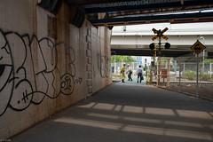 crossing between overpass (kasa51) Tags: people japan highway crossing overpass railway yokohama atwork   freightbranchline