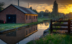 Don't Let The Sun Go Down On Me.. (Philip R Jones) Tags: uk sunset sunlight reflection canal warm boathouse referendum hff happyfencefriday