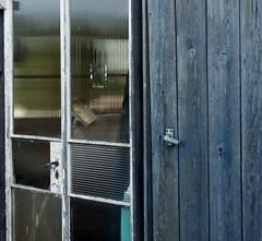 Which door? (lynn.pascoe) Tags: doorway doors glass blue wood handles houseboat