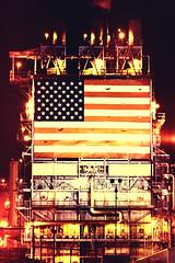 Freedom of Choice, is What You Want, Freedom From Choice, Is What You've Got (Thomas Hawk) Tags: california usa losangeles industrial unitedstates fav50 flag unitedstatesofamerica americanflag longbeach bp refinery britishpetroleum fav10 fav25 bpcarsonrefinery
