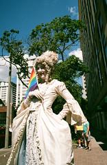 Kate Showing her Pride (Georgie_grrl) Tags: toronto ontario love community friendship flag pride celebration event wig pentaxk1000 performer wink lgbtq rikenon12828mm katemior faaaaabulous torontopride2016