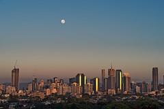 Sunrise over Brisbane before moonset (noompty) Tags: moon sunrise brisbane city cityscape queensland on1pics pentax k1 hddfa70200mmf28eddcaw