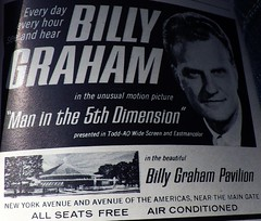Last of Hand-held Souvenir Shots from 1964 NYWF - IMGP3595 (catchesthelight) Tags: billygraham billygrahampavilion futurama peacethroughunderstanding worldsfair worldsfairgrounds ny nyc queens unisphere flushingmeadownewyork newyorkworldsfairsouvenirbooklet 1960s advertising copyrighted 196465nyworldsfair nywf souvenirs buildings miniphotos handheldshots notscans 19641965 communications picturephones futuristic globalweathercenter spaceage atomicage multiwheelcrawlers automatichighways resorthotelsbeneaththesea