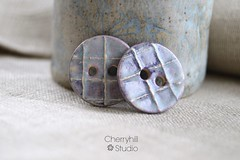 frosted purple buttons (Cherryhill Studio) Tags: ceramicbuttons buttons purplebuttons purple textured stoneware clay handcrafted handmadebuttons