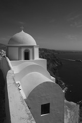Building in Fira BW (Jeremy Hayden Photography) Tags: ifttt 500px blue sky santorini greece holiday vacation cyclades thera thira volcano caldera islands greek aegean sea building fira cruise ships architecture aegeansea cruiseships bluesky