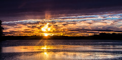 Sunset at The Bend Area (Kevin Povenz Thanks for the 2,600,000 views) Tags: 2016 october kevinpovenz westmichigan michigan ottawa ottawacounty thebendarea sunset reflection sun clouds sunburst canon7dmarkii evening dusk yellow water pond lake