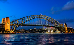Sydney Harbor Bridge, Blue Hour, Sydney, New South Wales, Australia (D200-PAUL) Tags: sydneyharborbridge harborbridgesydney harborbridge thecoathanger thebridge sydneyharbour jjcbradfield hellgatebridge steelarchbridge francisgreenway citycircle sydney newsouthwales australia nsw sydneyharbourbridge harbourbridge bridge arch outdoor water waterfront sea skyline architecture paulfernandez