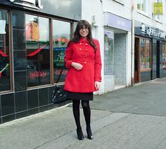 Streets Ahead (Starrynowhere) Tags: red black public glasses outdoor coat emma tights crossdressing tgirl tranny transvestite heels opaque pantyhose crossdresser ballantyne transvestism crossdressed starrynowhere