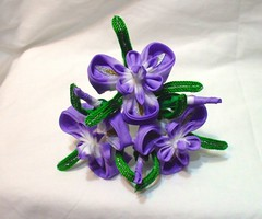 DSCF8590 (EruwaedhielElleth) Tags: iris flower floral set hair japanese pin handmade decoration may craft maiko ornament fabric hana geisha folded hairpin tsumami ayame kanzashi acessory zaiku imlothmelui