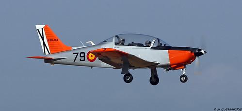 Spanish Air Force (Ejército del Aire) Enaer T-35 Pillán (E.26-04 / 79-51) flight testing at Seville-San Pablo Airport, Spain