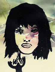 Aquarelle (MisterAteek) Tags: love graffiti femme dessin peinture amour lille papier rupture frange ateek