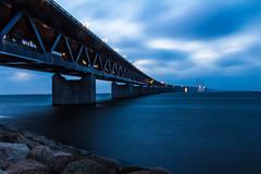 The resund Bridge (Hkan Dahlstrm) Tags: bridge light night photography se skne sweden dusk f22 sverige bro uncropped malm bron resund 2014 resund broen resundsbron limhamn ef1740mmf4lusm skneln canoneos100d 150sek 9614122014160858