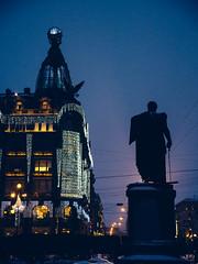 Singer House (miemo) Tags: travel winter tower silhouette statue night stpetersburg lights europe russia olympus christmaslights omd nevskyprospect em5 singerhouse panasonic1235mmf28