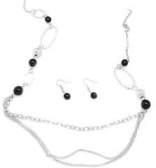 5th Avenue Black Necklace P2120A-1