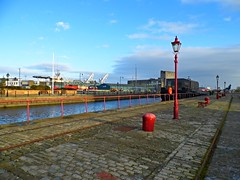 Port of Leith (View of the Prince of Wales Dock) (Netty 78) Tags: old city blue winter sky urban industry water lamp wales clouds port docks buildings scotland boat dock edinburgh europe european ship cityscape post britain united union capital great kingdom prince cranes leith lothian 2015 of