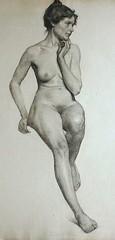 Drawing by Delbert Cadmus (mike catalonian) Tags: portrait female drawing fulllength delbertcadmus