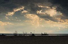 Storm Clouds, Holland Michigan (pooshda) Tags: park sunset sky sun storm holland water beautiful weather clouds zeiss heaven peace state god michigan lol sony shoreline lakemichigan 55mm lakeshore dreamy thunder hdr splendor a7rii