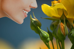 Yellow Roses (swong95765) Tags: flowers roses woman smile face yellow wonder nose bokeh jaw delight smell sniff sniffing scent fragrance smelling