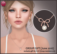 VIP Group Gift June (Izzie Button (Izzie's)) Tags: necklace group free sl gift bow vip pearl izzies