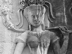 P1100462 (ian_harbour) Tags: bw sculpture monochrome temple cambodia angkorwat carving relief angkor apsara