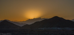 Last Rays over the Hajar Mountains, Oman (Peraion) Tags: sunset mountains evening asia middleeast rays oman rugged hagarmountains