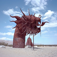 serpent. borrego springs, ca. 2015. (eyetwist) Tags: california cactus sculpture hot west 120 6x6 mamiya film tongue analog mediumformat square landscape 50mm rust iron dragon desert sandiego kodak fierce head steel welding teeth rusty dry icon ishootfilm dirt american springs ricardo borrego bleak analogue serpent anzaborrego mamiya6 sonoran roadsideamerica portra spikes arid sonorandesert cholla welded 160 anza borregosprings seaserpent primes skyart eyetwist kodakportra160 6mf mamiya6mf ishootkodak epsonv750pro yaquipass breceda filmexif galletameadows ricardobreceda filmtagger eyetwistkevinballuff mamiya50mmf4l americantypologies