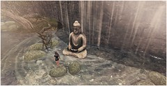 Discovered of the stone man ( ImaginaryLand ) Tags: woman man reflection water stone landscape sl secondlife rule