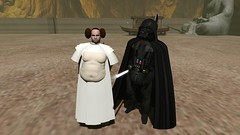 Father and daughter (Rencho Oh) Tags: starwars secondlife darth vader leia piggu