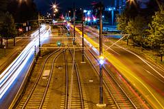 Pacific Highway (Tony Webster) Tags: longexposure night oregon portland us unitedstates traintracks broadway headlights lighttrails pacifichighway