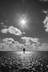 I`m walking..... (jwfoto1973) Tags: sky people bw white black germany deutschland person nikon himmel sw schwarzweiss schwarz watt sonnenstrahlen gegenlicht wattenmeer weis westerhever westerheversand wattwanderung d7100 sonnenstern johannesweyers