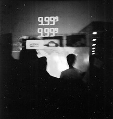 Exposed-outdoor movie, gas station (Dear Deer Fine Art) Tags: blackandwhite 120 film analog mediumformat movie gas spartaflex