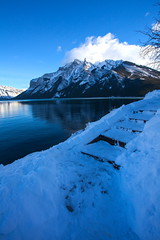 Steps (stevenbulman44) Tags: winter cloud mountain snow ice water canon steps bluesky banff lakeminnewanka 1740f40l
