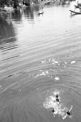 PERFUME RIVER (Zixbook.com) Tags: street leica people bw white black film water river children boat photo kid garbage bath vietnamese perfume shot kodak candid trix young picture documentary dirty vietnam straight care capture youngster hue lack wavelet