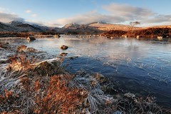 Cold Glow. (stonefaction) Tags: winter snow ice scotland highlands glencoe nah moor lochan rannoch a82 achlaise