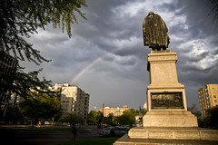 2014 04 22 - 3404 - DC - Webster Memorial (thisisbossi) Tags: usa clouds washingtondc dc nw unitedstates northwest rainbows nstreet scottcircle danielwebster webstermemorial