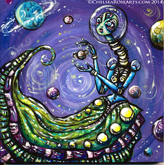 Space Lady (lucidRose) Tags: art giant space alien goddess faery planetary mutant portlandoregon cosmic acrylicpainting extraterrestrial celestial thirdeye pdxart big500 lucidrose chelsearosearts big500artshow