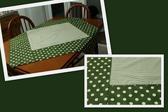 Toalha de mesa (ceciliamezzomo) Tags: verde green kitchen de table handmade bolas toalha cloth tablecloth bola patchwork mesa cozinha polkadot listras