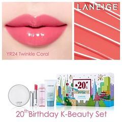 #Laneige 20th #Anniversary K-Beauty Makeup Look Set No. 2 ชุดเซทครบรอบ 20 ปี ลาเนจ สินค้าจำนวนจำกัด ในชุดประกอบด้วย ลาเนจ ชุดของขวัญ 20th Anniversary K-Beauty Makeup_Look2 มูลค่า 2,700 บาท ราคาเพียง ชุดละ 1850 บาท  พิเศษ สุดๆ ในราคา 1490 เท่านั้น พร้อมส่ง