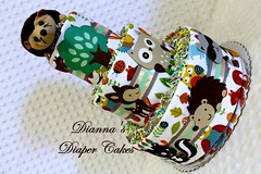 Woodland Baby Diaper Cake Forest Animals (Dianna's Diaper Cakes) Tags: girls baby cakes boys shower diaper gift newborn centerpiece gender neutral