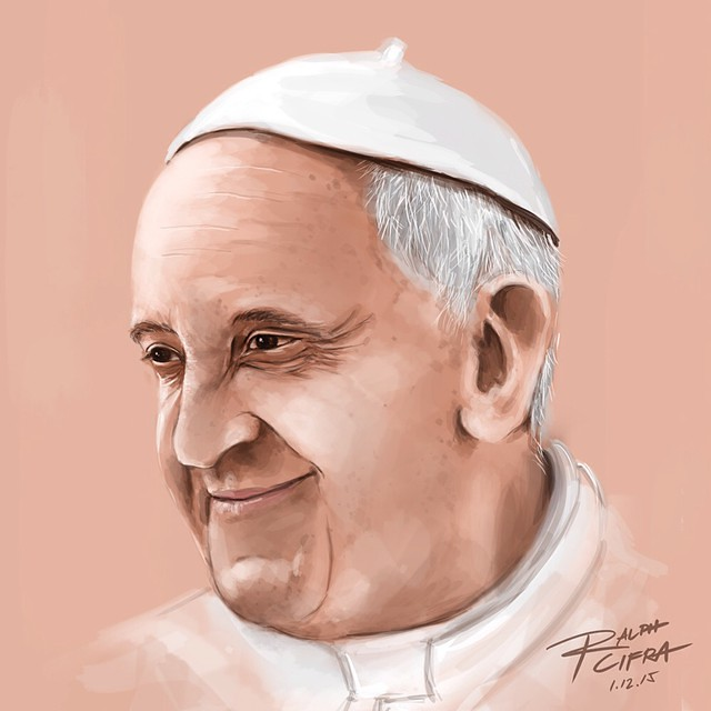 PORTRAIT:POPE FRANCIS #photoshop #illustration #art #paint #popetysm #popefrancisph #philippines #manila #portrait #vatican #rome #filipinos #thankyou #mercy #compassion #peace #francis #onheavenandearth #catholic #church #jose #mario #bergoglio